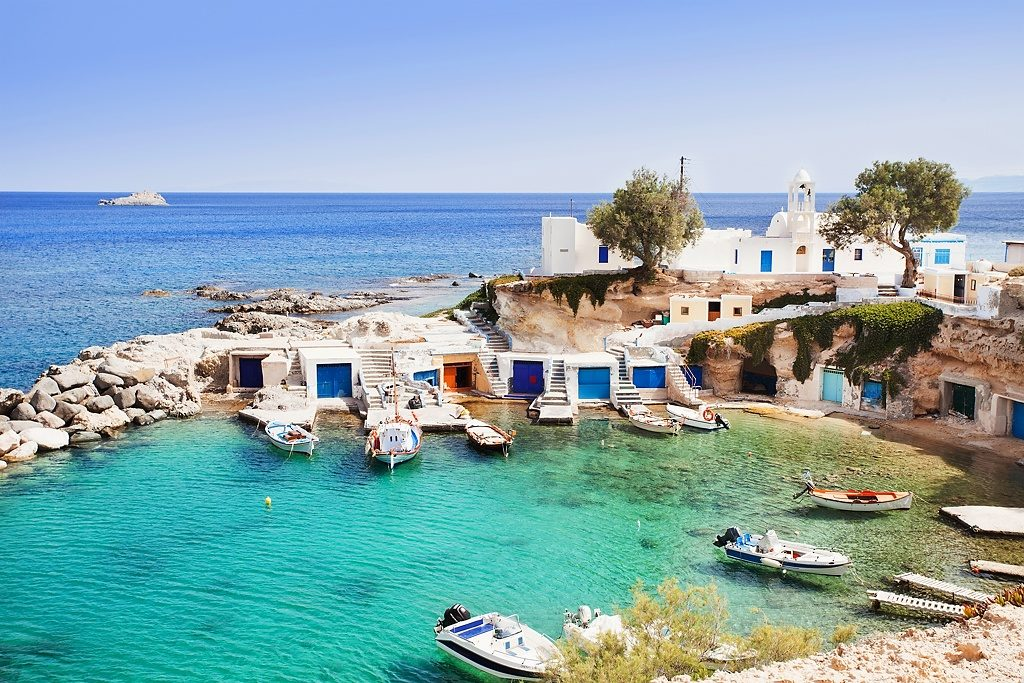 Traditional fishing village Mandrakia, Milos island, Cyclades, Greece