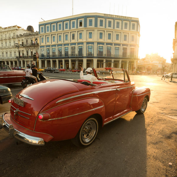 Beautifully maintained Taxis waiting for a fare on the streets of Havana, Cuba