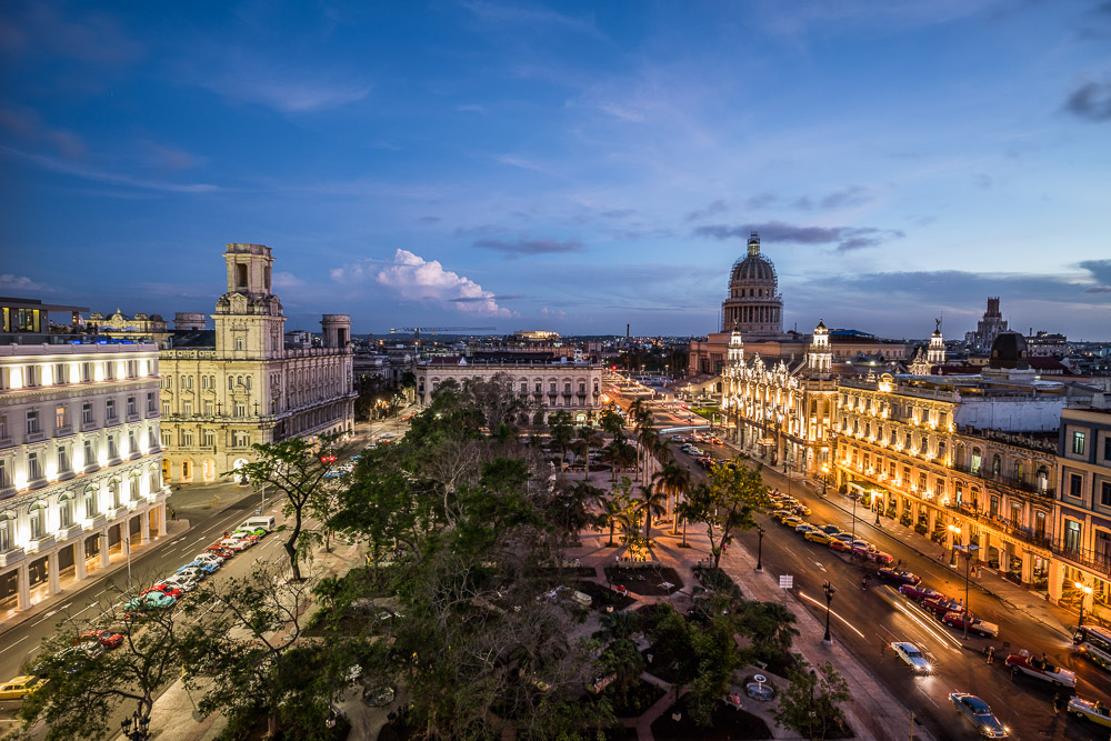 view of Parque Central at dusk in Havana city centre